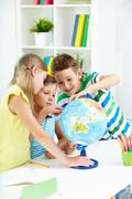 Studying geography - stock photo