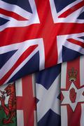 Flags of the United Kingdom of Great Britain - stock photo