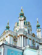 The famous Ukrainian Autocephalous Orthodox Saint Andrew's Church (Andreevska - stock photo