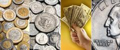 Coins and banknotes - International currency - stock photo
