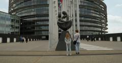 Mother and daughter visiting the European Parliament Stock Footage