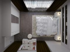 3D render of a white bedroom in classical style - stock illustration