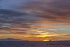 Midnight Sun - Drake Passage - Antarctica - stock photo