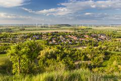 Flat west German landscape near Aachen and Herzogenrath with lots of wind tur Stock Photos