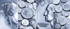 Coins and banknotes - International currency Stock Photos