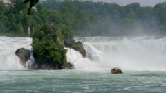 Rhine Falls at Schaffhausen with ferry boat, Switzerland #8 Stock Footage