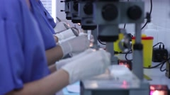 Laboratory. Studying under microscope Stock Footage