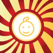 Smiling child abstract icon - stock illustration