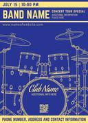 Rock music concert drum set vertical music flyer template. Stock Illustration