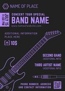 Rock music concert electro guitar vertical music flyer template . Stock Illustration