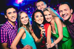 Karaoke party - stock photo