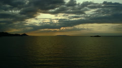 Sunset off the coast of Cinque Terre, Italy Stock Footage
