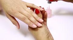 Application degreaser for fingernails Stock Footage