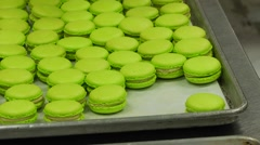 Finished macaroon sorting green - stock footage