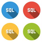 Collection of 4 isolated flat buttons for SQL title - stock illustration