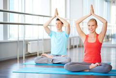 Finding balance with yoga Stock Photos