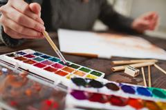 Drawing in water-colors Stock Photos