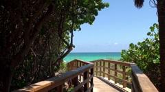 Miami Beach Wooden Pedestrian Boardwalk Stock Footage
