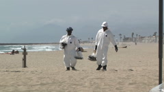 Oil Spill Beach Clean Up Tar Hazardous Waste Materials Toxic Enviornment Energy Stock Footage