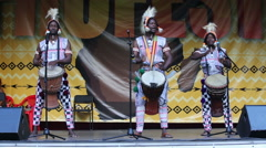 Traditional African drums. Crazy funny drummers. Stock Footage
