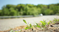 Highway traffic on ramp out of focus Stock Footage