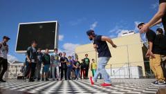 Bboys battle on the dance floor in City Park, hip-hop, break dance. Stock Footage