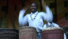 Traditional African drums. Crazy funny drummers Stock Footage