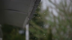 Rainwater and roof of a shelter - stock footage