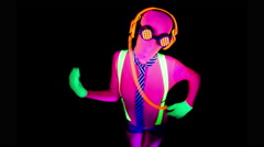 4k ultra violet disco glow sexy gogo female dancer raver Stock Footage