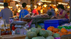 Market stalls in Lampang, Thailand Stock Footage