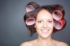 Hair curling - stock photo