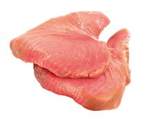 Raw tuna steaks, a good fish meat source for omega-3 fatty acids Stock Photos