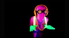 4k ultra violet disco glow sexy gogo female dancer raver Stock Footage