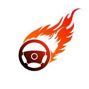 symbol burning automobile steering - stock illustration