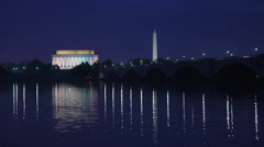 Washington, DC monuments on the Potomac river. - stock footage