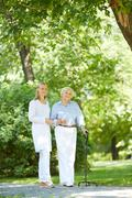 Walking with patient Stock Photos