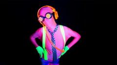 4k ultra violet disco glow sexy gogo female dancer raver - stock footage