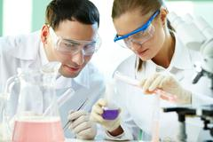 Checking up chemical reaction - stock photo