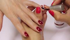 Manicure. Color nail varnish Stock Footage