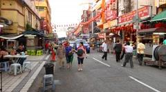 Chinatown street in Kuala Lumpur, walking through Stock Footage