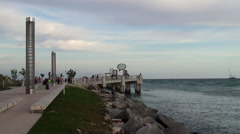 South Pointe Park Pier of Miami Beach at evening twilight. Stock Footage