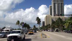 Road traffic in Collins Avenue at Miami Beach (Millionaires' Mile). Timelapse Stock Footage