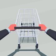 Male hands pushing empty shopping cart. - stock illustration