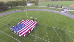 Aerial view of United States of America Flag Stock Footage