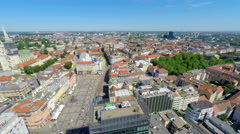 Central Zagreb with Zagreb's cathedral and Ban Jelačić's square, panorama. Stock Footage