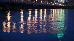 Dallas City Lights: Beautiful Night light reflections in flooded Trinity River Stock Footage