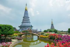 Pagoda at Doi Inthanon Chiang Mai, Thailand Stock Photos