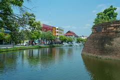 Moat outside the Old City in Chiang Mai - stock photo