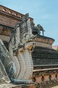 Dragon at Wat Chedi Luang Chiang Mai - stock photo