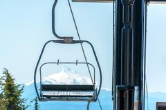 Chairlift and Mount Jefferson - stock photo
